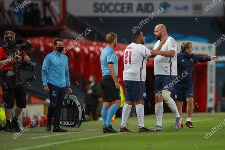 Tom Davis is replace by Chunkz of England in the first half of Soccer Aid for Unicef 2020 at Old Trafford, Manchester.