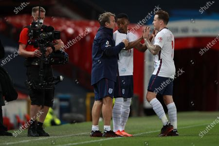 Yung Filly of England comes on to replace Danny Jones during Soccer Aid for Unicef 2020 at Old Trafford,