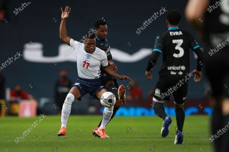 Yung Filly of England and DJ Locksmith of Soccer Aid World XI FC are pictured playing in Soccer Aid for Unicef 2020 at Old Trafford,