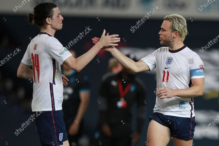 James Bay [left] and Olly Murs [right] of England during Soccer Aid for Unicef 2020 at Old Trafford,