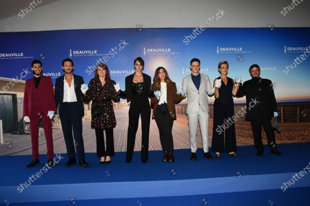 """Jonas Ben Ahmed, Vincent Dedienne, Marie-Castille Mention-Scharr, Noemie Merlant, Alysson Paradis, Gabriel Almaer, Anne Loiret and Yann Frisch attend  """"A Good Man"""" photocall at the 46th Deauville American Film Festival on September 06, 2020 in Deauville, France."""