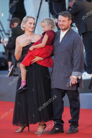 (R-L) Brady Corbet, Adelaide James Fastvold Corbet and Director Mona Fastvold