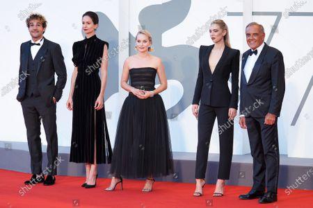 (L-R) Christopher Abbott, Katherine Waterston, Director Mona Fastvold, Vanessa Kirby and Venice Film Festival director Alberto Barbera