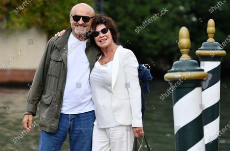 French actress Corinne Clery (R) and Italian actor Ivano Marescotti arrive at Lido Beach for the 77th annual Venice International Film Festival, in Venice, Italy, 07 September 2020. The public is barred from the red carpet, and big stars are expected to be largely absent this year. The 77th edition of the festival runs from 02 to 12 September 2020.
