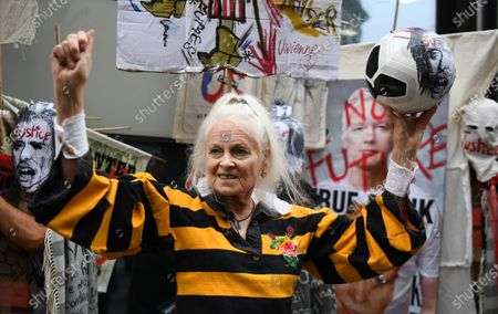Stock Picture of Fashion designer Vivian Westwood protests in support of WikiLeaks founder Julian Assange outside the Old Bailey in London, Britain, 07 September 2020. WikiLeaks founder Julian Assange faces extradition to the United States over the publication of secrets relating to the wars in Afghanistan and Iraq.