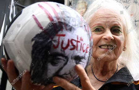 Stock Photo of Fashion designer Vivian Westwood protests in support of WikiLeaks founder Julian Assange outside the Old Bailey in London, Britain, 07 September 2020. WikiLeaks founder Julian Assange faces extradition to the United States over the publication of secrets relating to the wars in Afghanistan and Iraq.