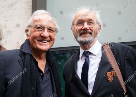 Stock Photo of Journalist John Pilger with Julian Assange's father, John Shipton(Left) outside the court.