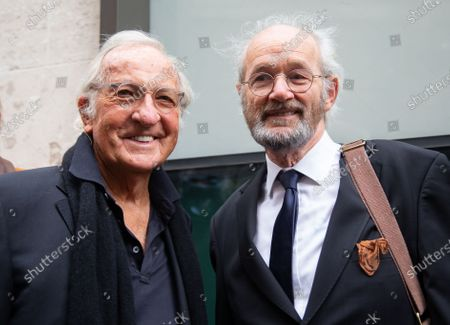 Journalist John Pilger with Julian Assange's father, John Shipton(Left) outside the court.