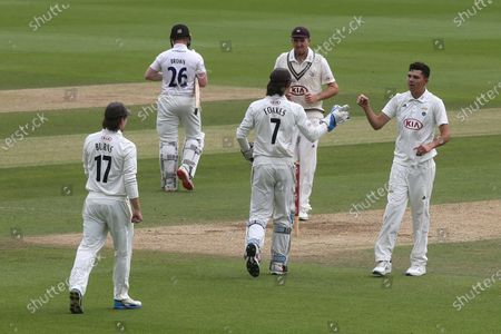 James Taylor of Surrey celebrates taking the wicket of Ben Brown of Sussex caught by Ben Foakes during Surrey CCC vs Sussex CCC, Bob Willis Trophy Cricket at the Kia Oval on 7th September 2020