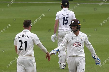 Surrey bowler, Daniel Moriarty celebrates taking the wicket of Sussex batsman, George Garton with Ben Foakes during Surrey CCC vs Sussex CCC, Bob Willis Trophy Cricket at the Kia Oval on 7th September 2020