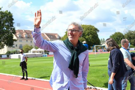 """Laurent Blanc arrives for a charity match of the """"Variete club de France"""" on sunday september 6, 2020. Poissy. France. PHOTO : CHRISTOPHE SAIDI /  SIPA."""