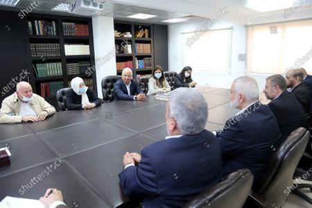 Hamas' political bureau chief Ismail Haniya meets with Bahia Hariri sister of the martyr former Prime Minister Rafic Hariri and Deputy in the Lebanese Parliament, in Beirut, Lebanon, on Sept. 7, 2020.