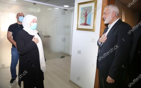 Stock Picture of Hamas' political bureau chief Ismail Haniya meets with Bahia Hariri sister of the martyr former Prime Minister Rafic Hariri and Deputy in the Lebanese Parliament, in Beirut, Lebanon, on Sept. 7, 2020.
