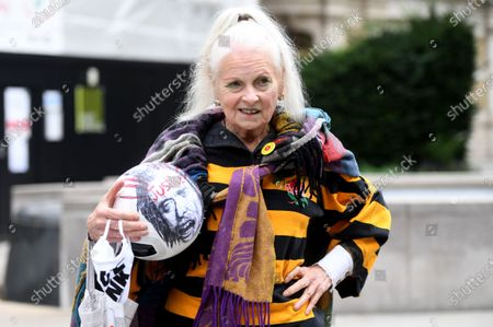 Fashion designer Vivian Westwood protests in support of WikiLeaks founder Julian Assange outside the Old Bailey in London, Britain, 07 September 2020. WikiLeaks founder Julian Assange faces extradition to the United States over the publication of secrets relating to the wars in Afghanistan and Iraq.
