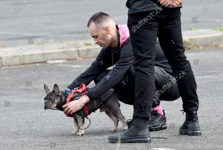 Joseph Gilgun is pictured filming the Sky comedy 'Brassic' along with the newest cast member, a cute puppy. Filming was delayed due to the coronavirus outbreak..