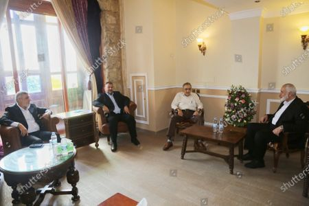 Hamas' political bureau chief Ismail Haniya meets with the Secretary-General of the Popular Conference for Palestinians Abroad, Mr. Munir Shafiq, in Beirut, Lebanon, on Sept. 7, 2020.