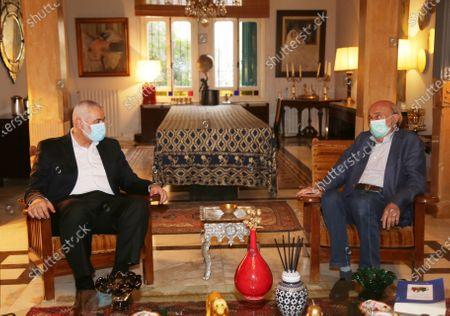 Hamas' political bureau chief Ismail Haniya meets with the head of the Lebanese Progressive Socialist, in Beirut, Lebanon, on Sept. 7, 2020.