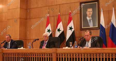 Syrian Foreign Minister Walid Muallem (C), Russian Foreign Minister Sergei Lavrov (R) and Russian Deputy Prime Minister Yuri Borisov (L) attend a press conference in Damascus, Syria, 07 September 2020. According to media reports, the Russian delegation's visit aims at holding talks with Syrian officials on developing and strengthening bilateral cooperation in various fields.