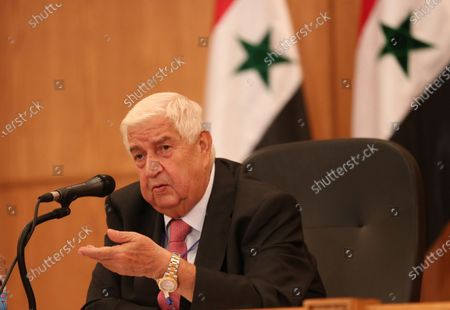 Syrian Foreign Minister Walid Muallem gestures during a press conference in Damascus, Syria, 07 September 2020. According to media reports, the Russian delegation's visit aims at holding talks with Syrian officials on developing and strengthening bilateral cooperation in various fields.