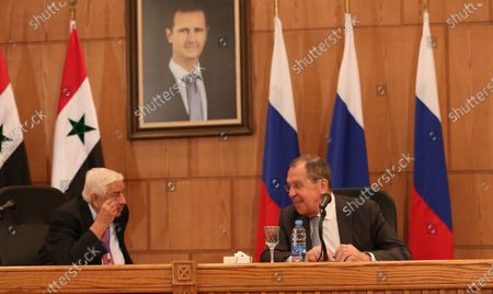 Stock Image of Syrian Foreign Minister Walid Muallem (L) and Russian Foreign Minister Sergei Lavrov (R) attend a press conference in Damascus, Syria, 07 September 2020. According to media reports, the Russian delegation's visit aims at holding talks with Syrian officials on developing and strengthening bilateral cooperation in various fields.