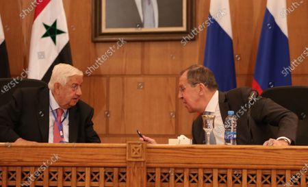 Editorial picture of Russian Foreign Minister Sergei Lavrov and Russian Deputy Prime Minister Yuri Borisov visit Damascus, Syria - 07 Sep 2020