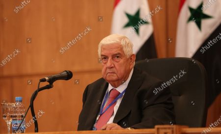 Syrian Foreign Minister Walid Muallem attends a press conference in Damascus, Syria, 07 September 2020. According to media reports, the Russian delegation's visit aims at holding talks with Syrian officials on developing and strengthening bilateral cooperation in various fields.