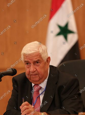 Stock Photo of Syrian Foreign Minister Walid Muallem attends a press conference in Damascus, Syria, 07 September 2020. According to media reports, the Russian delegation's visit aims at holding talks with Syrian officials on developing and strengthening bilateral cooperation in various fields.