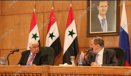 Syrian Foreign Minister Walid Muallem (L) and Russian Foreign Minister Sergei Lavrov (R) attend a press conference in Damascus, Syria, 07 September 2020. According to media reports, the Russian delegation's visit aims at holding talks with Syrian officials on developing and strengthening bilateral cooperation in various fields.