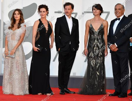 Weronika Rosati, and Maja Ostaszewska, Polish co-filmmaker Michal Englert, Polish filmmaker Malgorzata Szumowska and Festival Director Alberto Barbera attend the premiere 'Sniegu juz nigdy nie bedzie (Never Gonna Snow Again)' during the 77th annual Venice International Film Festival, in Venice, Italy, 07 September 2020. The movie is presented in the Official Competition 'Venezia77' at the festival running from 02 September to 12 September. The event is the first major in-person film fest to be held in the wake of the Covid-19 coronavirus pandemic. Attendees have to follow strict safety measures like mandatory face masks indoors, temperature scanners, and socially distanced screenings to reduce the risk of infection. The public is barred from the red carpet, and big stars are expected to be largely absent this year. The 77th edition of the festival runs from 02 to 12 September 2020.