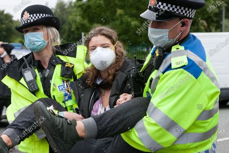 Police arrest Animal Rebellion protesters at the Tulip slaughterhouse in Ashton-under-Lyne