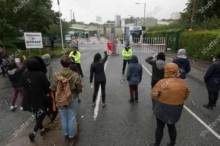 Animal Rebellion protesters at the gates of the Tulip slaughterhouse in Greater Manchester