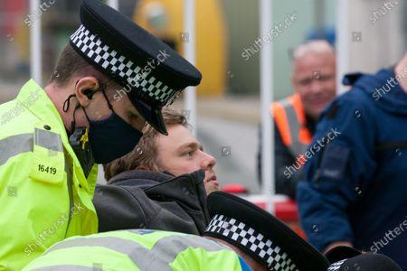 Police arrest Animal Rebellion protesters at the Tulip slaughterhouse in Ashton-under-Lyne