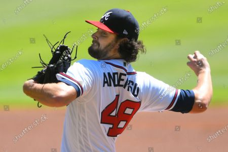 Atlanta Braves' Ian Anderson pitches against the Washington Nationals during the first inning of a baseball game, in Atlanta