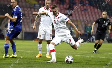 Polish player Arkadiusz Milik in action, during the UEFA Nations League match between Bosnia  and Poland in Zenica, Bosnia and Herzegovina, 07 September 2020.