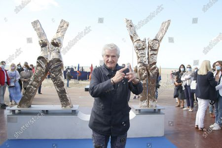 Director Claude Lelouch attends the the X Y Philippe Valensi sculpture unveiled