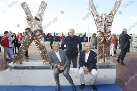 The Mayor of Deauville Philippe Augier, Director Claude Lelouch and Sculptor Philippe Valensi attend the the X Y Philippe Valensi Sculpture Unveiled