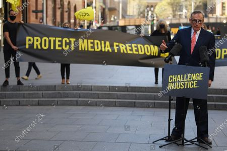 Former Australian Foreign Affairs Minister Bob Carr speaks during an Amnesty International media event, calling on the US Government to drop the charges and extradition of WikiLeaks founder Julian Assange, in Sydney, Australia, 08 September 2020. The USA is seeking the extradition of Julian Assange from the United Kingdom.