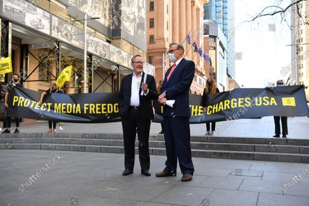 Former Australian Foreign Affairs Minister Bob Carr (R) and journalist Quentin Dempster (L) attend an Amnesty International media event, calling on the US Government to drop the charges and extradition of WikiLeaks founder Julian Assange, in Sydney, Australia, 08 September 2020. The USA is seeking the extradition of Julian Assange from the United Kingdom.