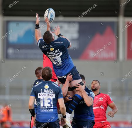 James Phillips of Sale Sharks catches a high ball; AJ Bell Stadium, Salford, Lancashire, England; English Premiership Rugby, Sale Sharks versus Saracens.