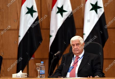Syrian Foreign Minister Walid al-Moallem holds a press conference with his Russian counterpart Sergey Lavrov (not in the picture) in Damascus, capital of Syria, on Sept. 7, 2020. Syrian Foreign Minister Walid al-Moallem said on Monday he is optimistic about the prospects of the war-torn country's economic situation, as Russia and Syria are exerting efforts to reinforce the partnership.