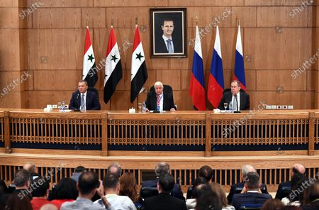 Russian Foreign Minister Sergey Lavrov (R) and Syrian Foreign Minister Walid al-Moallem (C) hold a press conference in Damascus, capital of Syria, on Sept. 7, 2020. Syrian Foreign Minister Walid al-Moallem said on Monday he is optimistic about the prospects of the war-torn country's economic situation, as Russia and Syria are exerting efforts to reinforce the partnership.