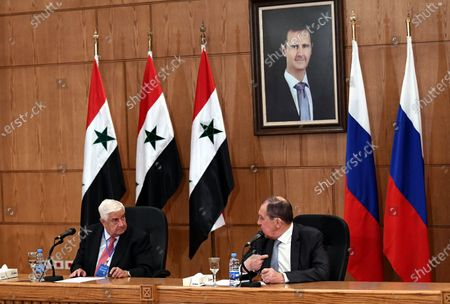 Russian Foreign Minister Sergey Lavrov (R) and Syrian Foreign Minister Walid al-Moallem hold a press conference in Damascus, capital of Syria,  Sept. 7, 2020. Syrian Foreign Minister Walid al-Moallem said on Monday he is optimistic about the prospects of the war-torn country's economic situation, as Russia and Syria are exerting efforts to reinforce the partnership.