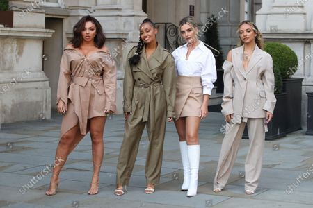 (L-R) Jesy Nelson, Leigh-Anne Pinnock, Perrie Edwards and Jade Thirlwall walk over to Radio 1 ahead of their Live Lounge performance