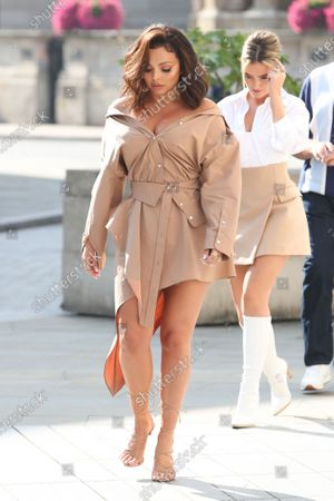 Jesy Nelson and Perrie Edwards walk over to Radio 1 ahead of their Live Lounge performance