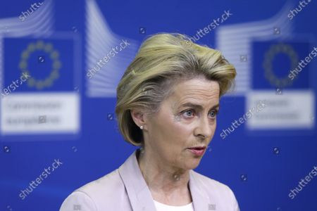 European Commission President Ursula von der Leyen speaks during a press statement at EU headquarters in Brussels, . The European Union's executive commission has proposed European Commission vice-president Valdis Dombrovskis to take over the post of EU trade commissioner following the resignation of Ireland's Phil Hogan