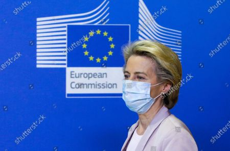European Commission President Ursula von der Leyen wears a protective mask prior to making a press statement at EU headquarters in Brussels, . The European Union's executive commission has proposed European Commission vice-president Valdis Dombrovskis to take over the post of EU trade commissioner following the resignation of Ireland's Phil Hogan