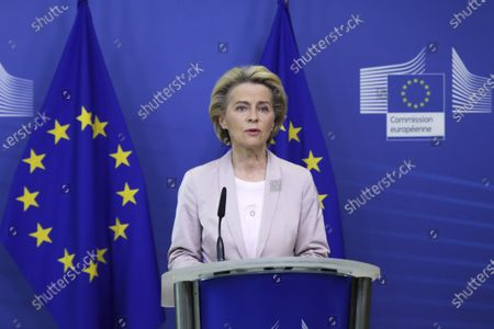 Stock Photo of European Commission President Ursula von der Leyen speaks during a press statement at EU headquarters in Brussels, . The European Union's executive commission has proposed European Commission vice-president Valdis Dombrovskis to take over the post of EU trade commissioner following the resignation of Ireland's Phil Hogan