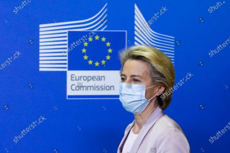Stock Picture of President of the European Commission Ursula Von der Leyen announces the replacement of Ireland's Commissioner Phil Hogan, whose portfolio will be taken by Latvia's Commissioner Valdis Dombrovskis, in Brussels, Belgium, 08 September 2020. This change comes as the Ireland's commissioner was obliged to resign after non compliance with coronavirus sanitary measures.
