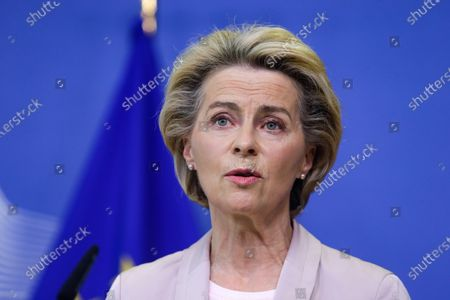 President of the European Commission Ursula Von der Leyen announces the replacement of Ireland's Commissioner Phil Hogan, whose portfolio will be taken by Latvia's Commissioner Valdis Dombrovskis, in Brussels, Belgium, 08 September 2020. This change comes as the Ireland's commissioner was obliged to resign after non compliance with coronavirus sanitary measures.