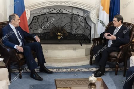 Russian Foreign Minister Sergei Lavrov (L)  and Cypriot President Nikos Anastasiades (R) talk during their meeting at the presidential palace in Nicosia, Cyprus, 08 September 2020. Russian Foreign Minister Lavrov is on an official visit to Cyprus.